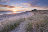 Sunrise over Bamburgh Beach and Castle from the Sand Dunes  Northumberland  England Spring (March)