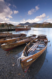 Wooden Rowing Boats on Derwent Water  Keswick  Lake District  Cumbria  England Autumn