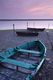 Boats at Low Tide on the Shore of the Fleet Lagoon  Chesil Beach  Dorset  England Spring