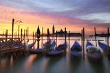 Italy  Venice Gondolas Moored on Riva Degli Schiavoni at Sunrise