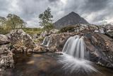 UK  Scotland  Highland  Glen Coe  River Coupall  Coupall Falls and Buachaille Etive Mor