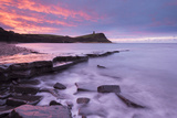 Colourful Dawn Sky Above Kimmeridge Bay on the Jurassic Coast  Dorset  England Winter