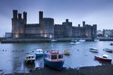 Foreboding Evening Skies Above the Immense Caernarfon Castle  Caernarfon  Gwynedd