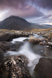 Rocky River in Cwm Idwal Leading to Pen Yr Ole Wen Mountain at Sunset