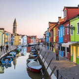 Italy  Veneto  Venice  Burano Sunset in the Town