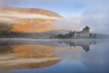 A Misty Morning Beside Loch Awe with Views to Kilchurn Castle  Argyll and Bute  Scotland Autumn