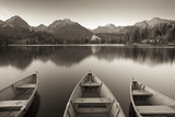 Rowing Boats and Mountains Beneath a Twilight Sky  Strbske Pleso Lake in the High Tatras  Slovakia
