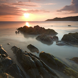 Sunset on Barricane Beach  Woolacombe  Devon  England Summer