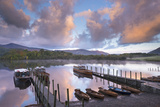 Boats on Derwent Water at Sunrise  Keswick  Lake District  Cumbria  England Autumn (October)