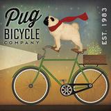 Pug on a Bike Reproduction d'art par Ryan Fowler
