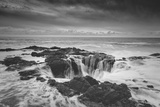 Scene at Thor's Well in Black and White  Oregon Coast
