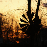 Windmill Silhouette Against Bare Branches and Sunset Sky