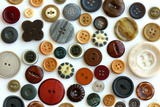 Collection Vintage Sewing Button Scattered on White Background
