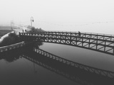 Fog White Out Bridge at Lake Merritt  Oakland