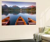 Rowing Boats and Mountains Beneath a Twilight Sky  Strbske Pleso Lake in the High Tatras  Slovakia