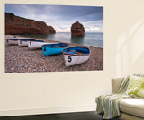 Boats Pulled Up on the Shingle at Ladram Bay on the Jurassic Coast  Devon  England