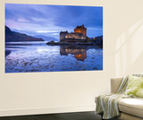 Twilight over Eilean Donan Castle on Loch Duich  Dornie  Scotland Winter (November)