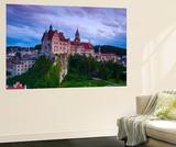 Elevated View Towards Sigmaringen Castle Illuminated at Dusk
