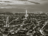 Dusk View over Eiffel Tower and Paris  France