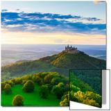 Hohenzollern Castle and Sourrounding Countryside Illuminated at Sunset  Swabia  Baden Wuerttemberg