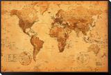 Carte du monde Reproduction montée et encadrée