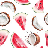 Watercolor Watermelon and Coconut Pattern