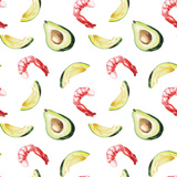 Watercolor Avocado and Shrimp Pattern