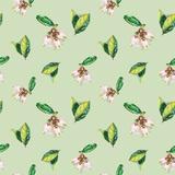 Watercolor Flowers Pattern Green