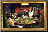 Chiens jouant au poker Reproduction montée et encadrée
