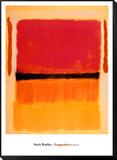 Sans titre Violet, noir, orange, jaune sur blanc et rouge, 1949 Reproduction montée et encadrée par Mark Rothko