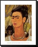 Self-Portrait with Monkey, c.1938 Reproduction montée et encadrée par Frida Kahlo