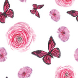 Watercolor Pink Flowers and Butterfly Pattern