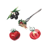 Watercolor Italian Food Set