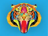 Tiger Head with Geometric Style Reproduction d'art par Happysunstock