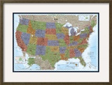 United States Political Map  Decorator Style