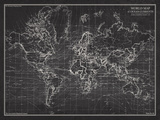 Ocean Current Map - Global Shipping Chart Reproduction d'art par The Vintage Collection