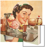 Menu Illustration of Waitress Carrying Ice Cream Desserts