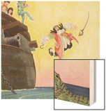 Illustration of Captain Hook Falling Overboard by Roy Best