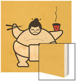 Sumo eating bowl of noodles