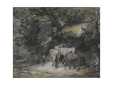 Wooded Landscape with Peasant Asleep and Horses Outside a Shed