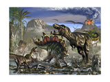 Stegosaurus Defending Himself from T-Rex and Some Utahraptors
