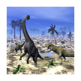 Allosaurus Dinosaurs Attacking a Brachiosaurus in the Desert