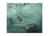 A Carnivorous Albertosaurus Stalks a Primitive Alphadon Oppossum