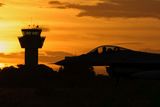 US Air Force F-16 Fighting Falcon at Sunset
