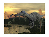 Suchomimus Dinosaurs Walking Next to Pond at Sunset