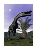 Monolophosaurus Dinosaur Roaring Next to Cycadeoidea Plant
