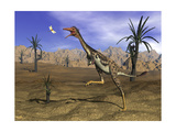Mononykus Dinosaur Chasing a Dragonfly in the Desert