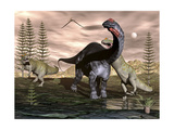 Allosaurus Dinosaurs Attacking an Apatosaurus