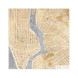 Gilded New York Map