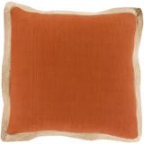Jute Flange Poly Fill Pillow - Rust